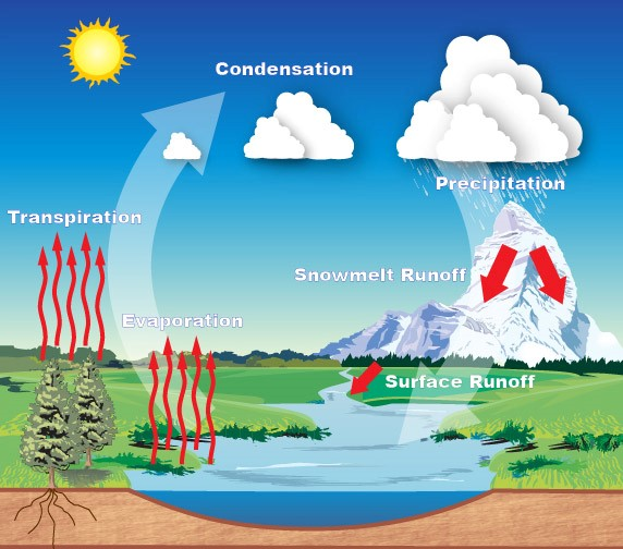 Diagram showing major  surface and atmospheric components of the hydrologic cycle