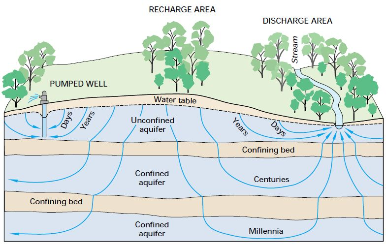 Diagram showing varying  groundwater flow path lengths with their origin (recharge area) and destination