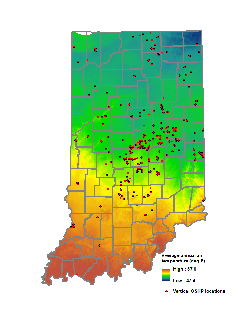 Indiana Geological And Water Survey Geothermal Ground Source - Us soil temperature map
