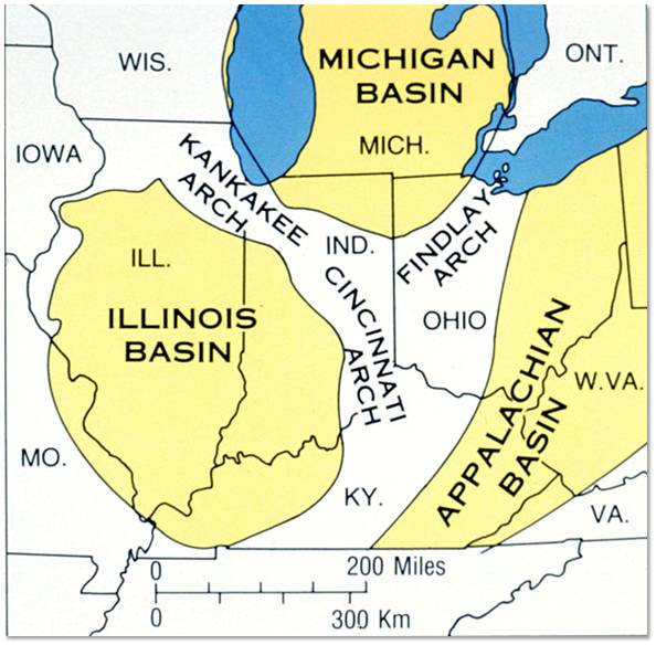 Map showing major tectonic features that affect bedrock geology in Indiana.