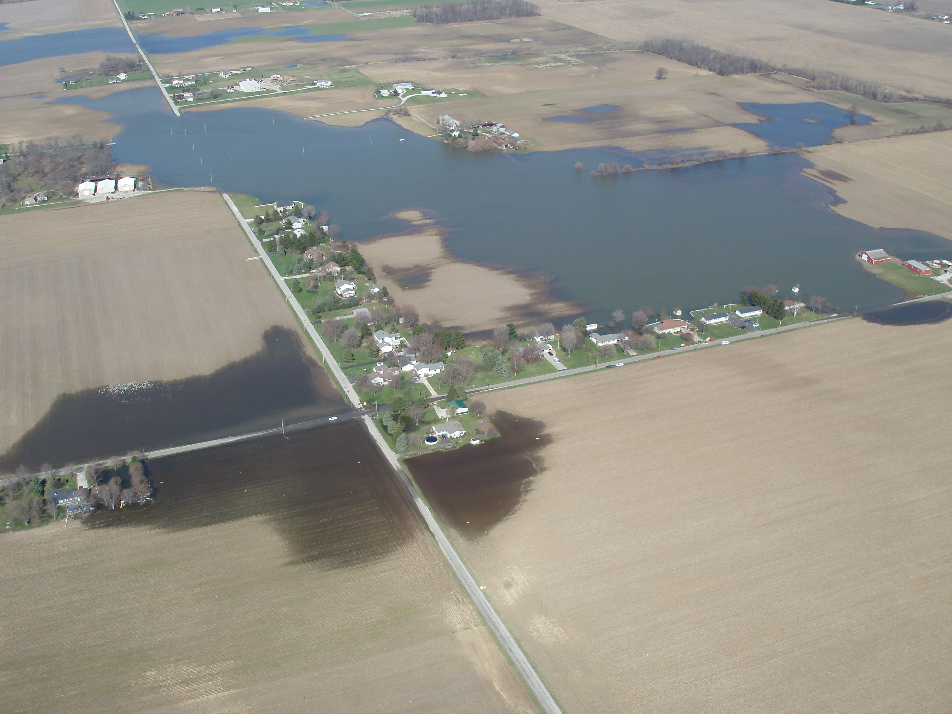 Aerial photograph showing extensive karst flooding caused by a lack of surface