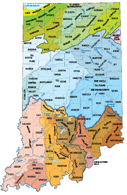 Map showing physiographic divisions of Indiana (Gray, 2000). Click on figure 1 to