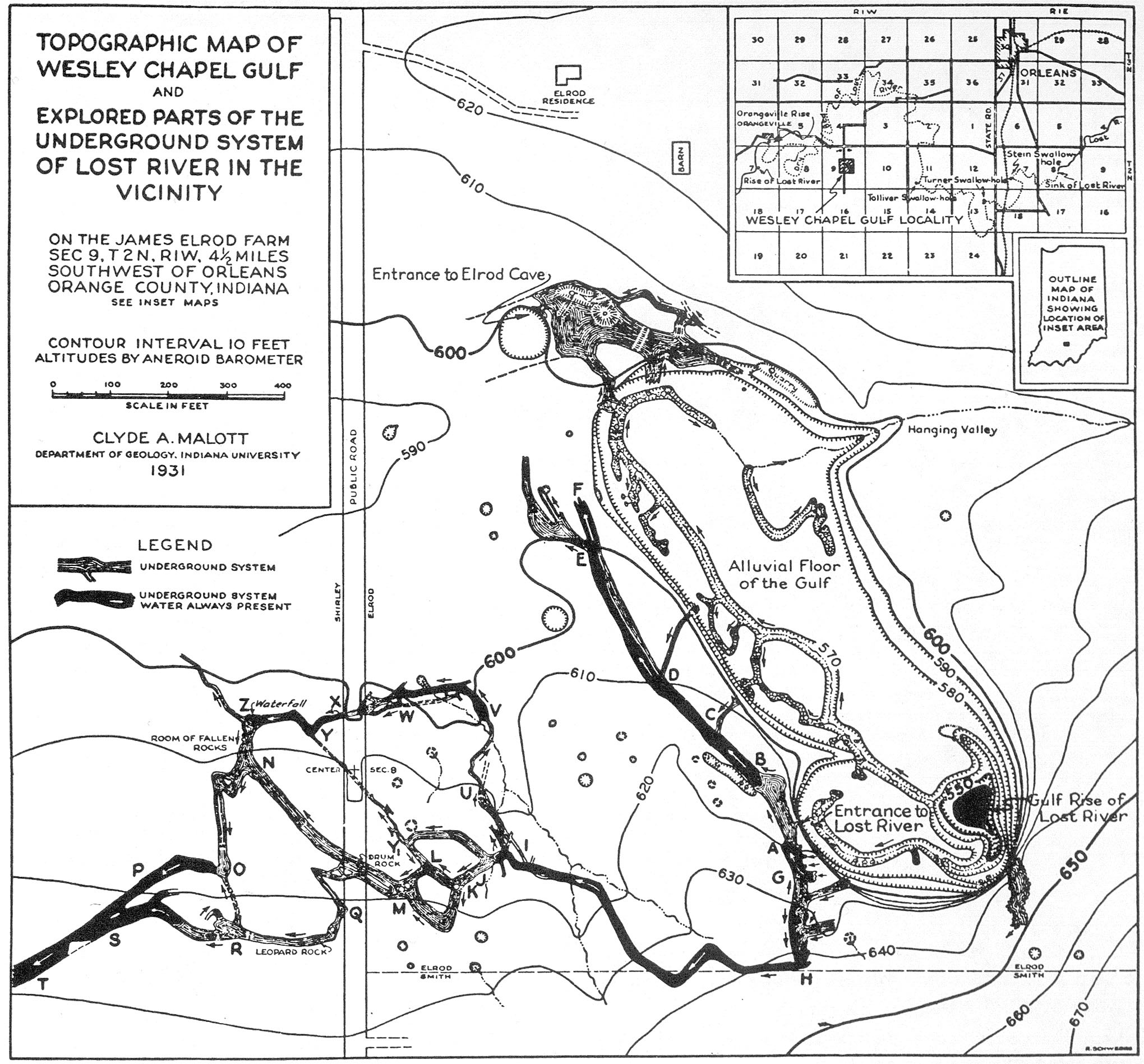 A sketch map of Wesley Chapel Gulf in Orange County, Indiana, originally drawn by