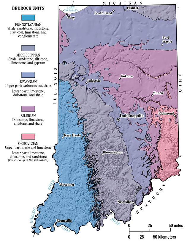 Indiana Geological Survey  Bedrock Geology Of Indiana