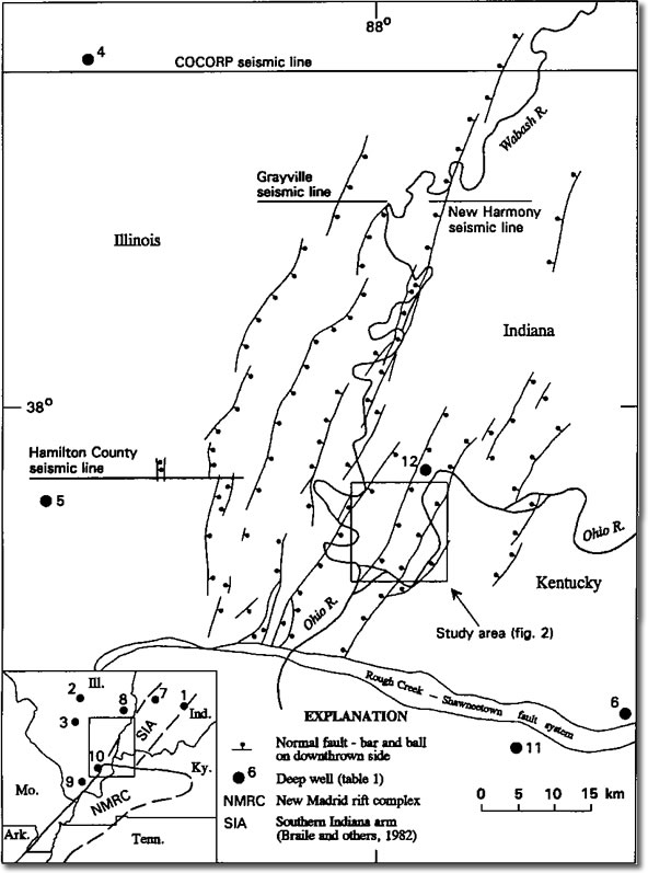 Image showing map of the Wabash Valley fault system showing the reflection seismic study area and the COCORP, Hamilton County, Grayville, and New Harmony seismic lines.