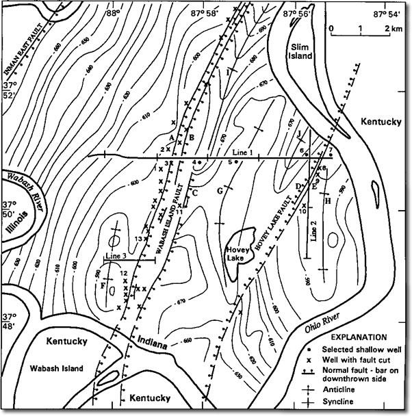 Map showing seismic lines 1-3, with section-line indicia at 1-mile (1.6-km) intervals.