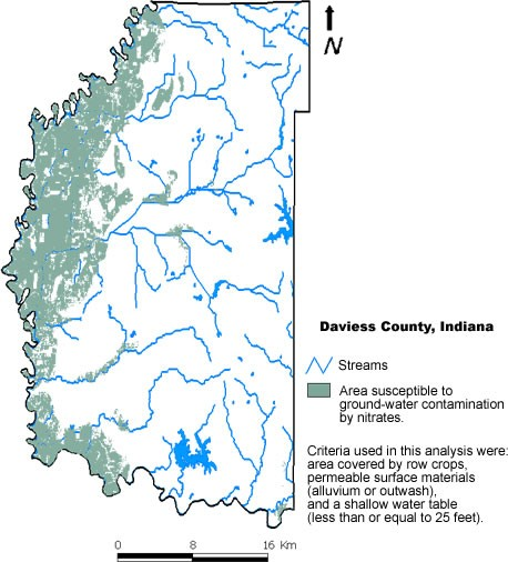 Map  showing the susceptibility to ground water contamination in Daviess County. Click the map to see a larger view.