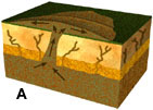 3D cross-sectional diagram of a sand blow.