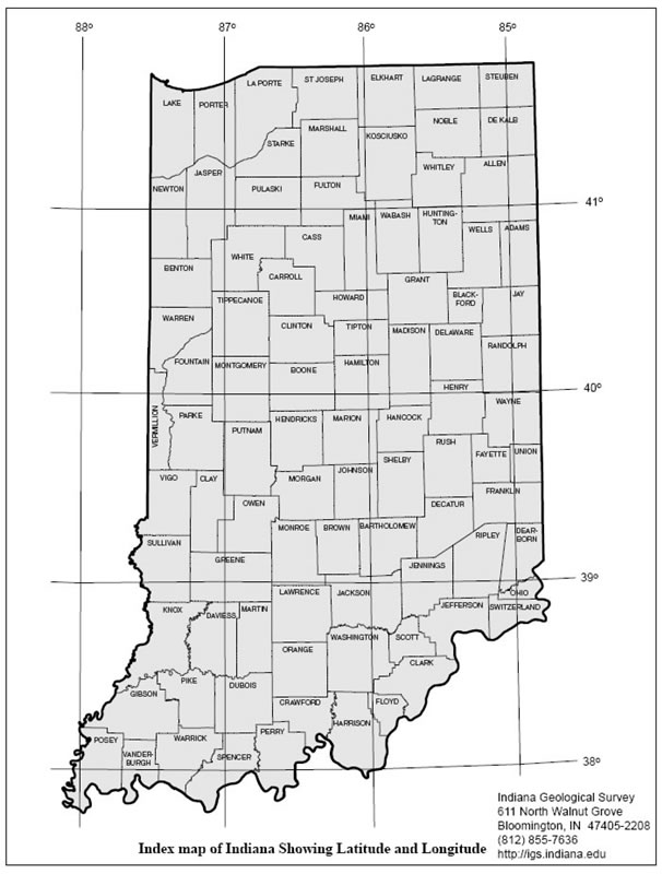 map of indiana showing lines of latitude and longitude 2005
