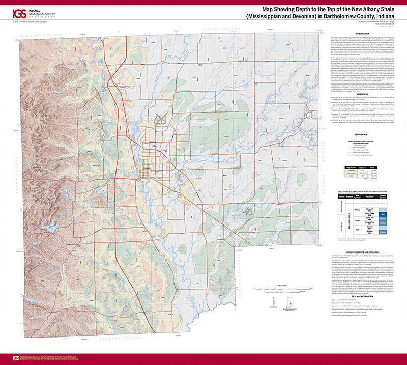 Albany Indiana Map.Map Showing Depth To The Top Of The New Albany Shale Mississippian