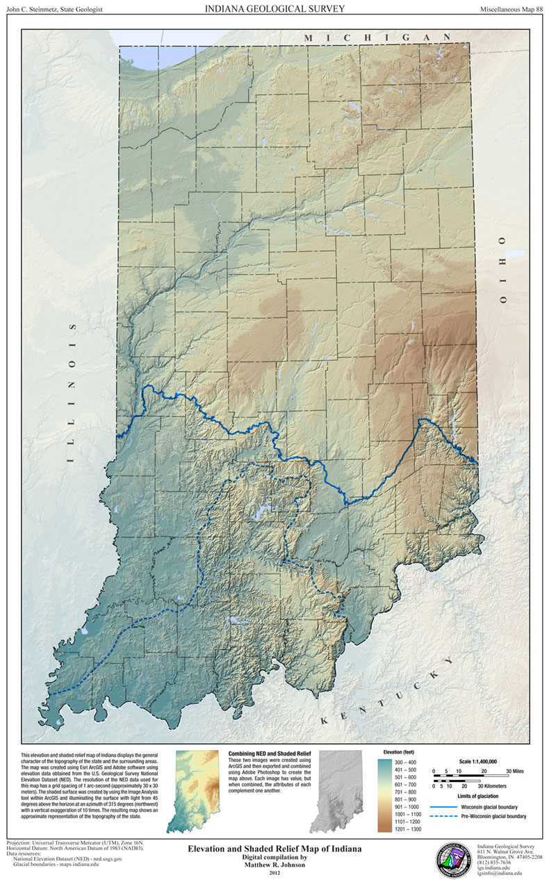 Elevation and shaded relief map of Indiana (2012) | Indiana ...