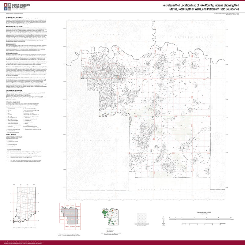 Pike County Indiana Map.Petroleum Well Location Map Of Pike County Indiana Showing Well