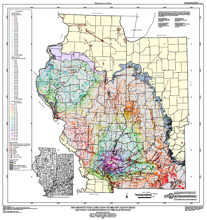 Albany Indiana Map.Map Showing Total Thickness Of The New Albany Shale Devonian And