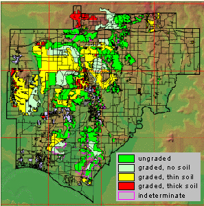 Post-mining land-use map of Warrick County, Indiana. The three sites where intensive monitoring of hydrologic conditions around newly installed septic systems are also