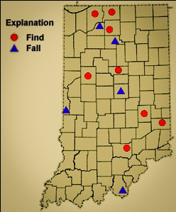 Image of Indiana map showing where meteorites have been recovered.