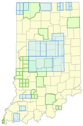 Map of Indiana showing the extent of geologic maps published by the IGS.