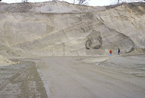 Photograph of glacial outwash composed of sand and gravel. Klink Sand and Gravel, Steuben County.