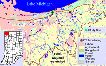 Map showing land uses within the Little Calumet watershed.