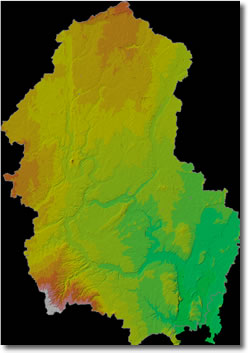 Image showing hillshaded topography of Young's Creek Watershed.