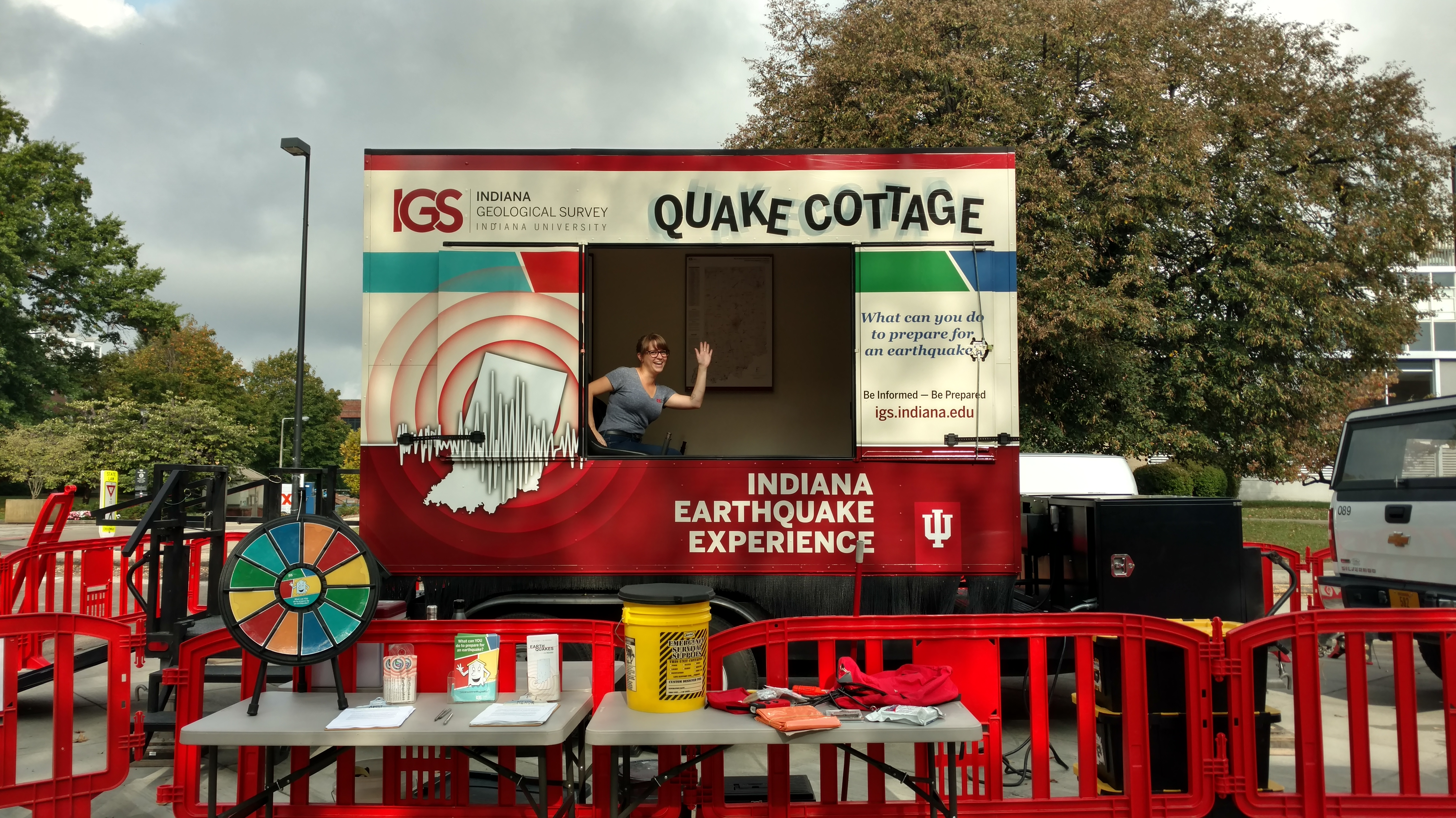 The Quake Cottage is a 14-foot-tall trailer that simulates the shaking experienced during an earthquake.